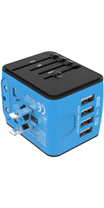 4 USB Travel Adapter Blue