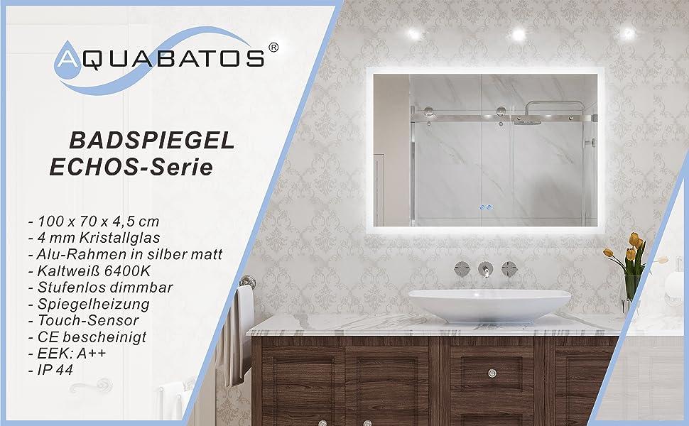 Badspiegel mit LED Beleuchtung Licht Spiegel 100x70cm ECHOS Typ B