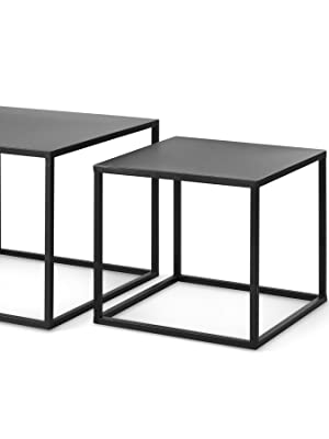 lifa living nest of 2 tables cube square coffee tables for small spaces modern side tables black metal end tables for living room bedroom patio