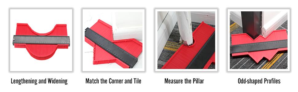 Multifunctional Shape Measure Ruler contour profile gauge Standard Wood Marking Tool Measuring Tool