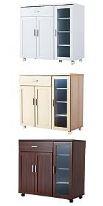キッチン キッチンカウンター レンジ台 レンジボード 食器棚 レンジワゴン 木製 幅90 ワゴン キャスター 炊飯器 ガラス シエスタ おしゃれ 白 ホワイト