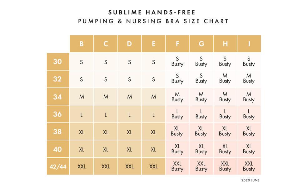 Sublime Hands Free Pumping & Nursing Bra size chart