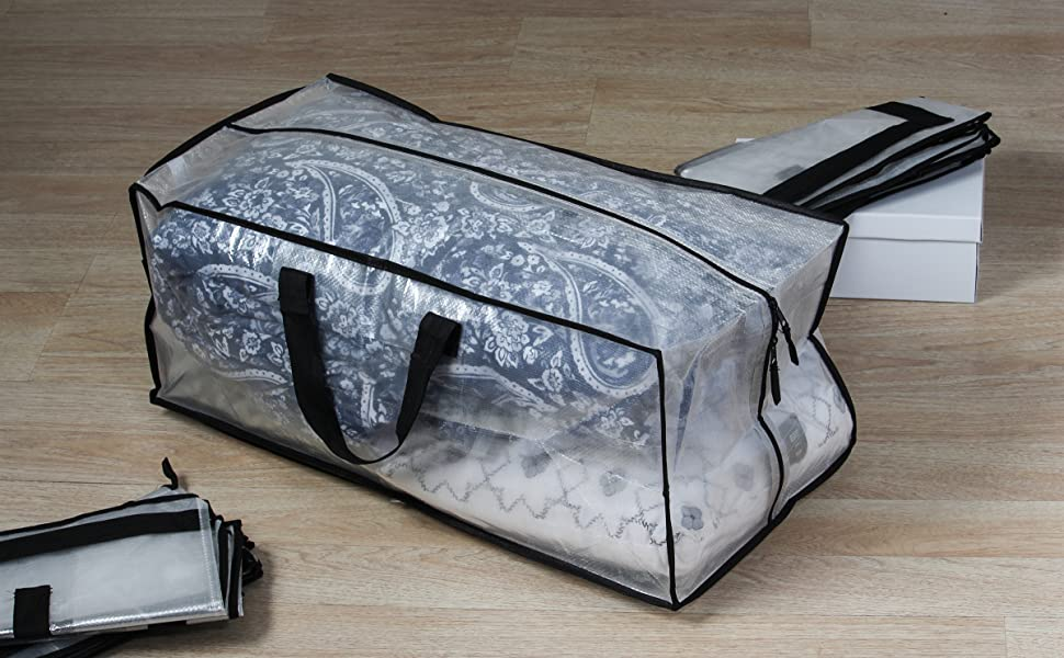 Earthwise Clear Storage Bags Moving Heavy Duty Extra Large with Zipper Closure Reusable Backpack Carrying Handles Compatible with IKEA Frakta Hand Carts 29 X 18 X 12 3 Pack