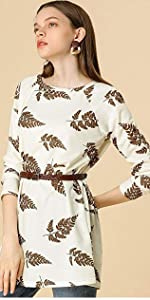 Leaf Prints Knit Tunic Top