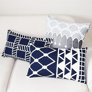 navy blue rectangular pillow covers