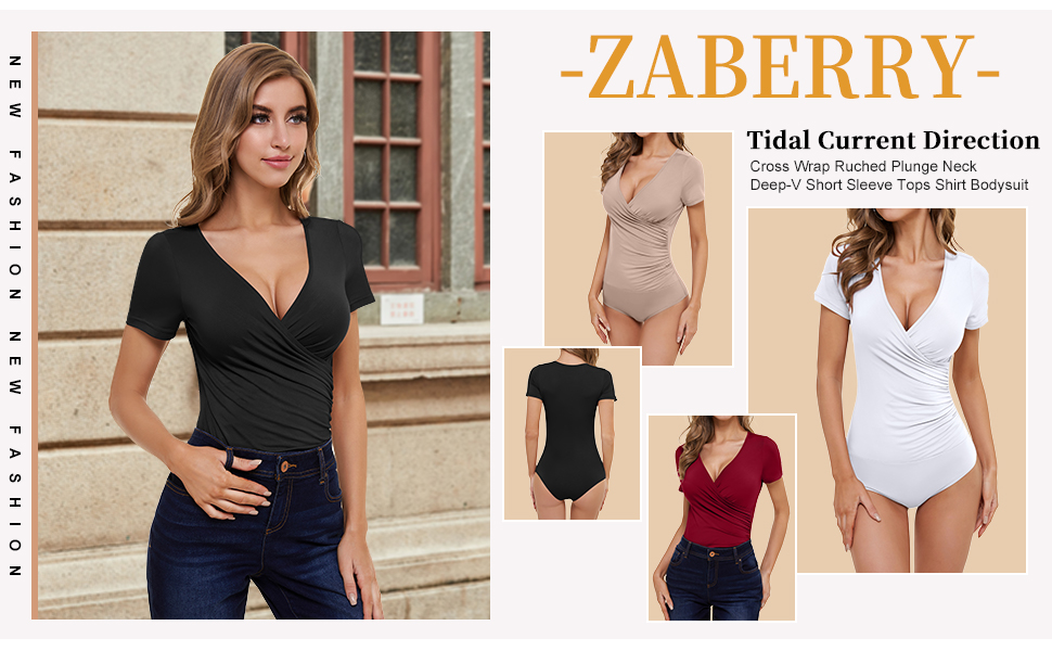 comfortable soft fabric deep v neck bodysuit short sleeve ruched cross front wrap layying fitting