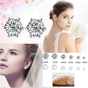 crystal pearl earrings set