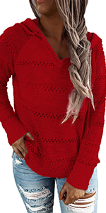 Womens Fashion V Neck Knit Sweater Pullovers Hoodies