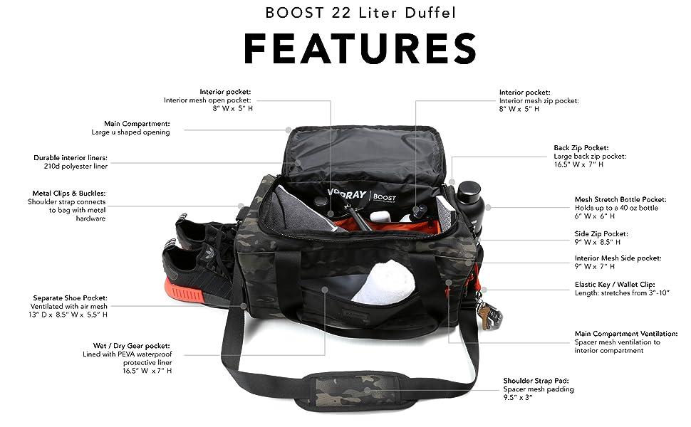 vooray boost duffel ventilated shoe pocket interior organization gym duffel sports bag premium