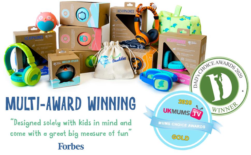 planet buddies, headphones, kids headphones, speakers, award winning, safe audio, forbes, eco