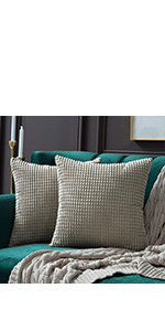 MIULEE Pack of 2 Decorative Throw Pillow Covers Soft Corduroy Solid Cushion Case
