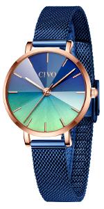 CIVO Women Watches Ladies Waterproof Stainless Steel Minimalist Analogue blue Wrist Watch