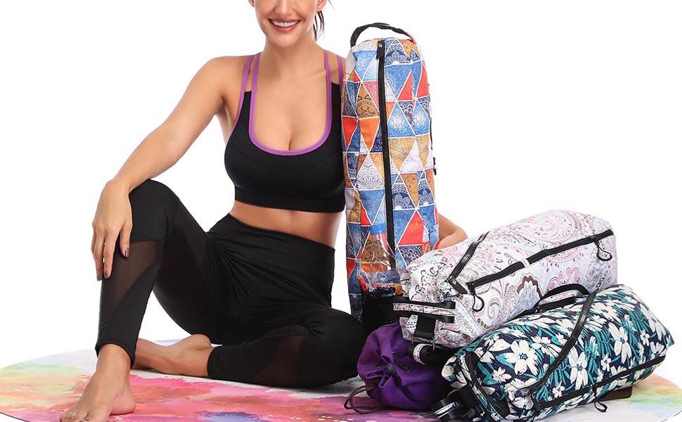 FODOKO Yoga Mat Bag, Full Zip Exercise Yoga Mat Sling Bag with Multi-Functional Storage Pockets, Smooth Zippers, Adjustable Shoulder Strap Yoga ...