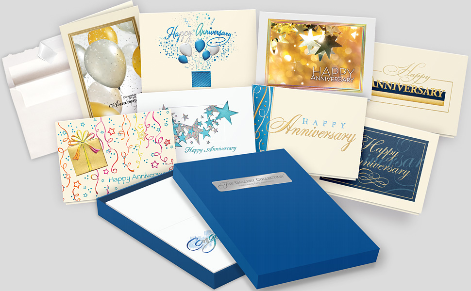 Display of 7 unique anniversary cards, an envelope with deckled edge, and a card storage box.