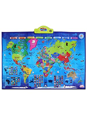 educational learning toy poster mat world map interactive globe countries flags quiz talking kids