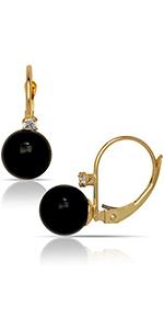 JewelryWeb 14K Yellow Created 7mm Gemstone Ball and Cubic Zirconia Stationary Leverback Drop Earring