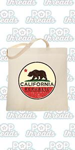 California State Flag Republic Los Angeles Bear Large Canvas Tote Bag Women