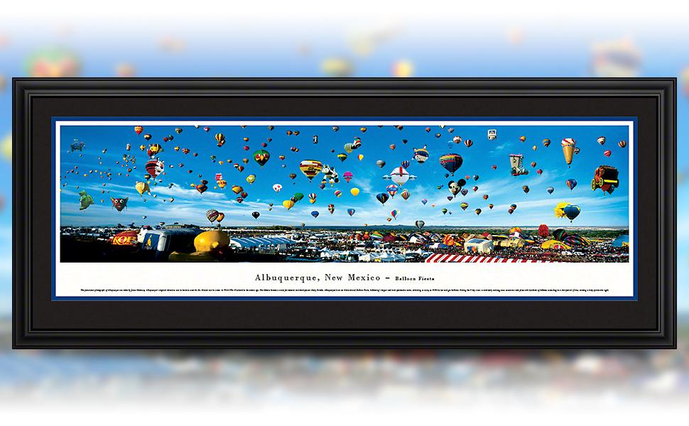 Amazon Com Blakeway Worldwide Panoramas Standard Frame Albuquerque New Mexico Balloon Fiesta Blakeway Panoramas Skyline Posters Posters Prints