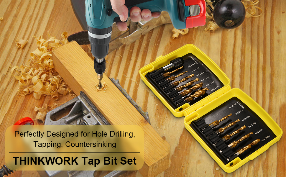 THINKWORK Combination Drill Tap /& Tap Bit Set 13 PCS SAE//Metric with Quick-Change Adapter Tapping 3-in-1 Titanium Coated Screw Tapping Bit Tool for Drilling Countersinking