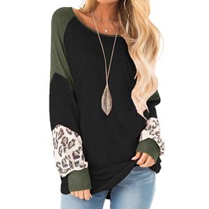 leopard print tops for women womens 3/4 length sleeve tops leopard print basic womens sweatshirt