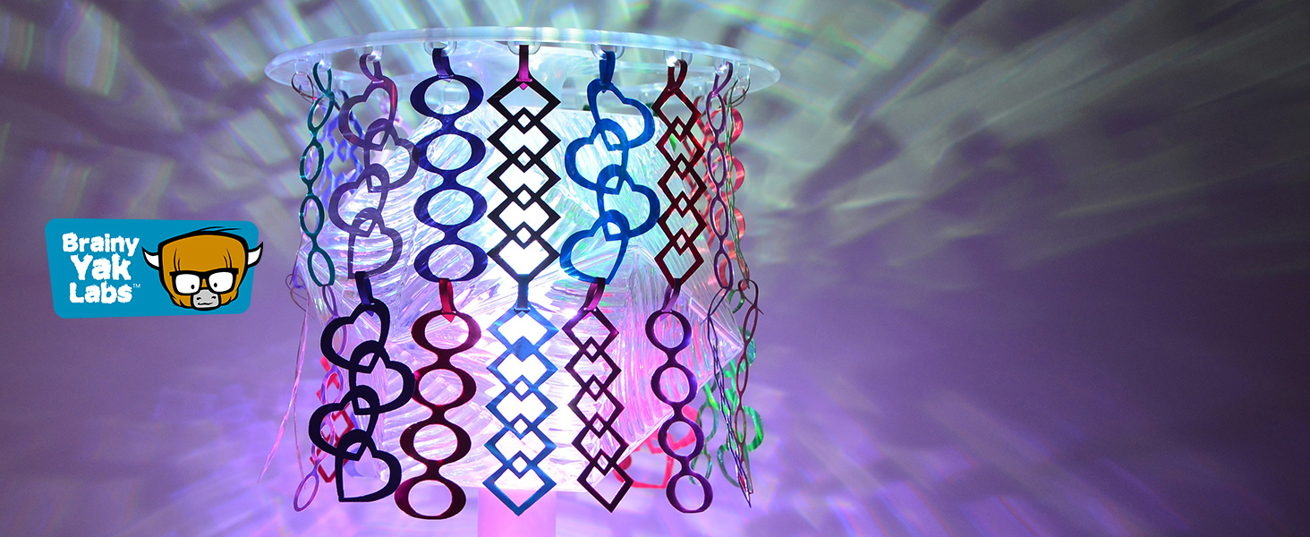 Deluxe 3-in-1 Party Lamp Kit with custom lamp shade and colorful hanging decorations