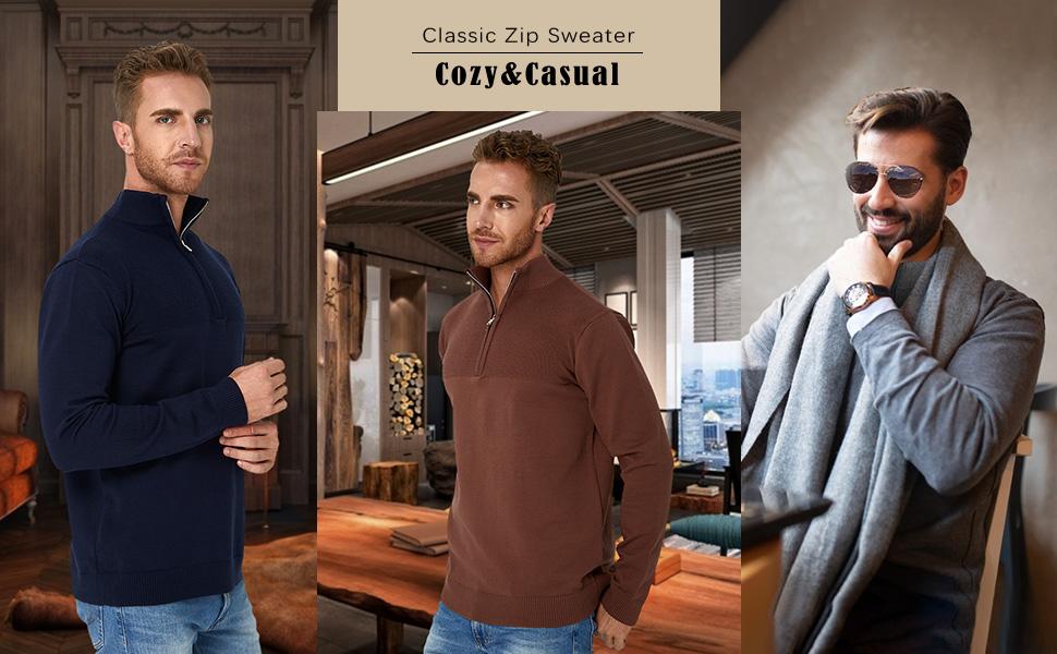 Freshhoodies Men Zip Sweater Slim Fit Polo Sweater Casual Long Sleeve Pullover Sweater