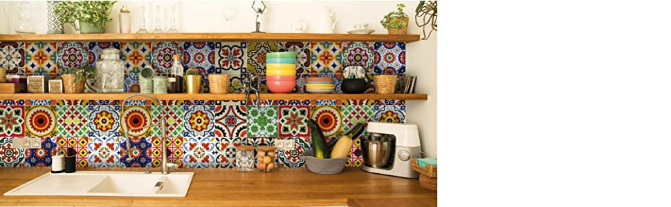 Peel and Stick Tile Backsplash Stair Riser Decal DIY Tile Talavera Home Decor Staircase Tile Sticker
