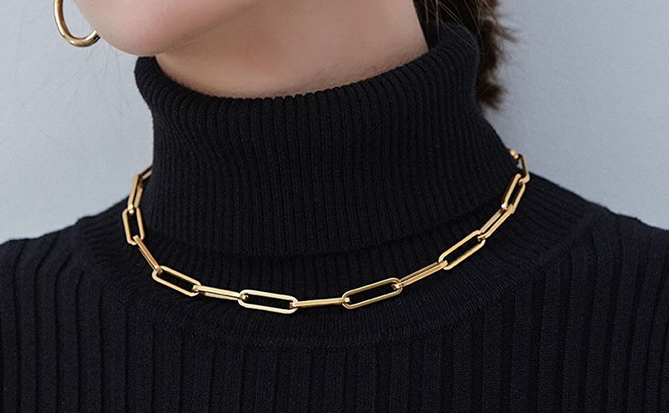 CHOOSE LENGTH \u2022 Drawn flat cable chain \u2022 Layering layered Rectangle link gold chain \u2022 Yellow Gold Filled \u2022 Bracelet Anklet Necklace Choker