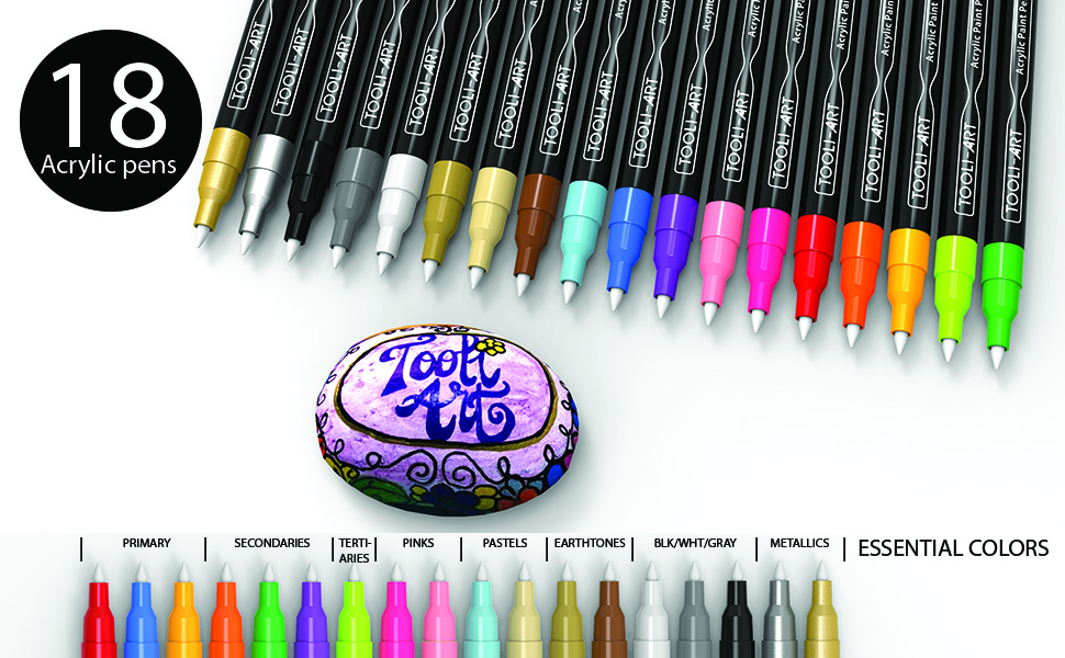 18 pens showing full range of vivid colors primary secondary pastel midtone pink black white