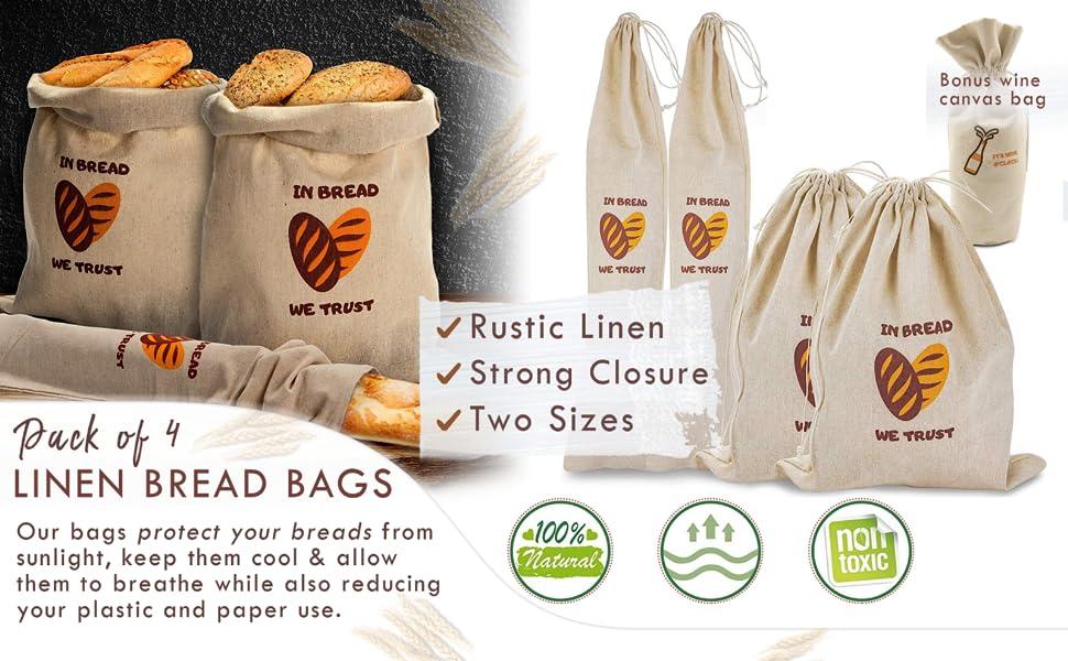kitchen gift Natural cotton bread bag European design bread bag fabric bread bag Indigo fabric bread bag unbleached cotton lining