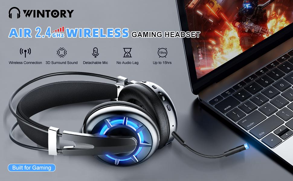 Wintory Air Casque de jeu sans fil 2,4 G avec microphone antibruit détachable