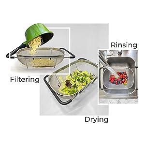 filtering rinising drying