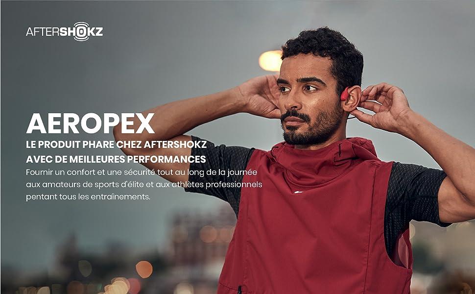 AfterShokz Aeropex, Casque à Conduction Osseuse Écouteur Sport sans Fil