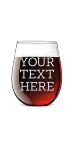 personalized etched stemless wine glass for birthdays with custom age and text