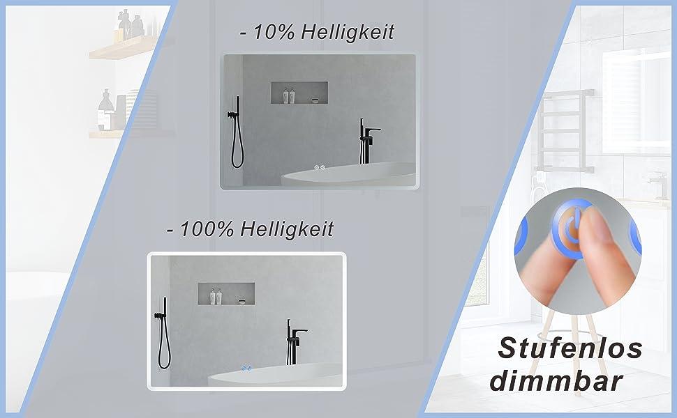 Badspiegel Wandspiegel mit LED Licht 100x70cm BORAS Typ B