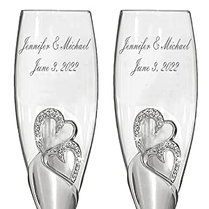Sparkling love personalized toasting wedding flutes