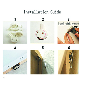 Installation instructions, please refer to the pictures, very easy to hang up.I hope it helped you.