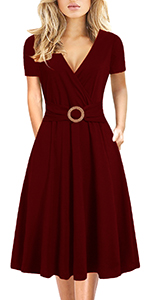 Women Criss-Cross Faux Wrap Vintage Short Sleeve Work Casual Party Tea Swing Dress with Pockets 980…