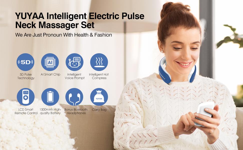 neck massager massage pain relief heat electric smart cordless pulse intelligent electric muscle