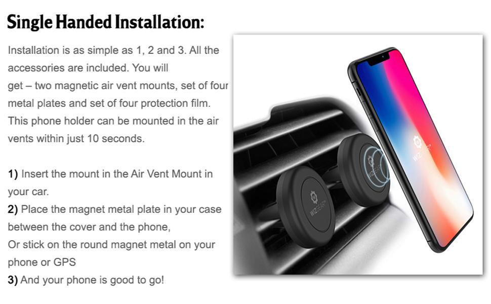 Soporte magnético para teléfono celular para coche soporte de teléfono de coche magnético de coche soporte de coche soporte de ventilación de montaje