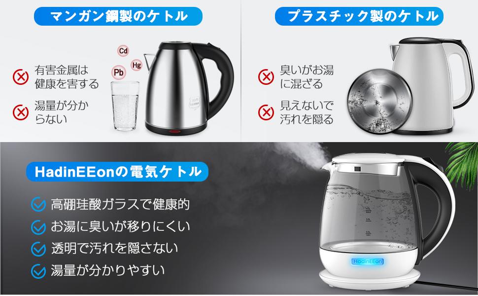 HadinEEon健康的な高硼珪酸ガラス製電気ケトル