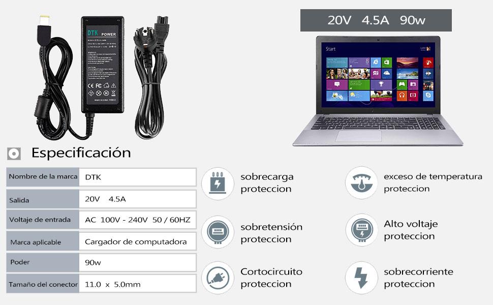 DTK® Portátil Cargador AC Fuente de alimentación para Lenovo salida: 20 V 4,5 A 90 W (20 V 3,25 A 65 W Comp COMPATIBLES) Cargador de red piezas Red ...
