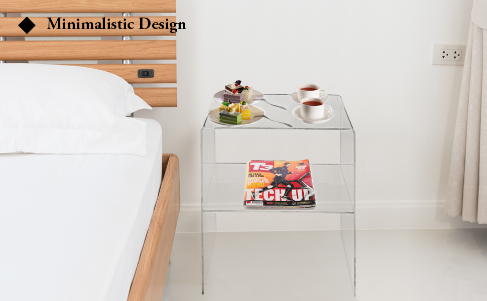 Modern Design Clear Acrylic Decorative End Table/Home Decor Display Nightstand w/ 2 Shelves