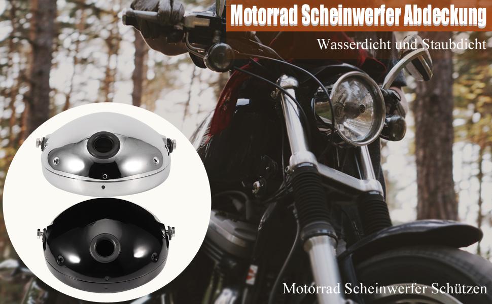 Motorrad Lampenabdeckung 7 Zoll Aluminium Motorrad Runde Modifikation Led Scheinwerfer Gehäuse Abdeckung Schwarz Auto