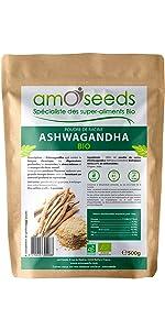 amOseeds Le Spécialiste des Super-Aliments Bio Poudre d'Ashwagandha Bio