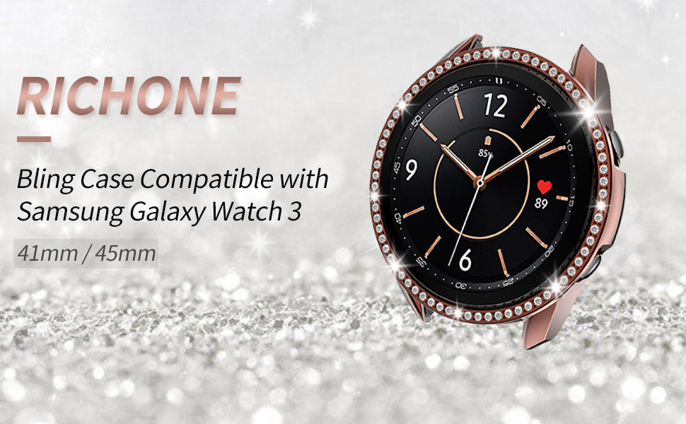 RICHONE Case Compatible with Samsung Galaxy Watch 3 41mm 45mm Cover Bling Bumper