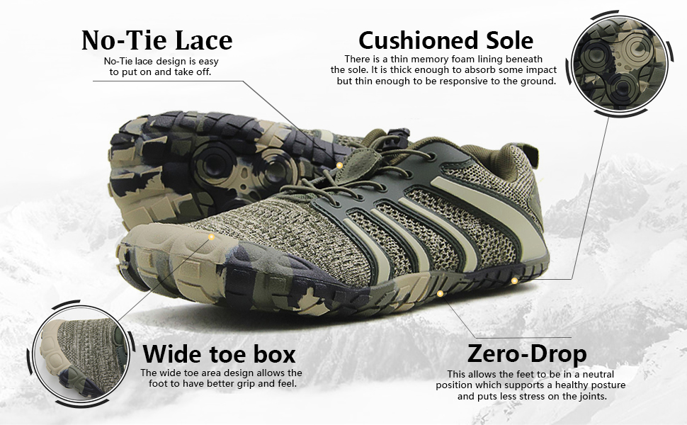 Amazon Com Oranginer Men S Barefoot Shoes Big Toe Box Minimalist Cross Training Shoes For Men Trail Running