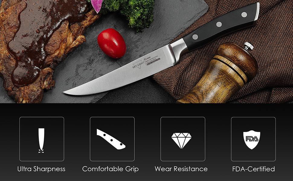 Cuchillo de Carne 4 Piezas Cuchillos Chuleteros 12 cm Cuchillo de Mesa Borde Recto Alemana Alto Carb/ón Acero Inoxidable Mango Antideslizante Conjunto de Cuchillos