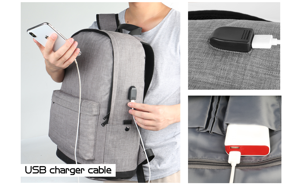 USB backpack provides an inside USB that plugs into the portable charger.