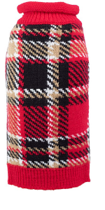 The Worthy Dog Red Plaid Sweater